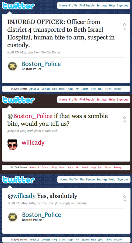 Boston Police Will Report Zombie Attacks