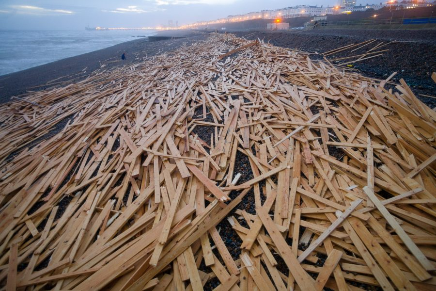 Wood washed up on brighton