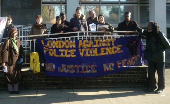 Camberwell Green Magistrates Court - London Campaign Against Police & State Violence Banner