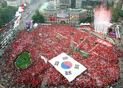 Red Devil fans in City Hall Plaza
