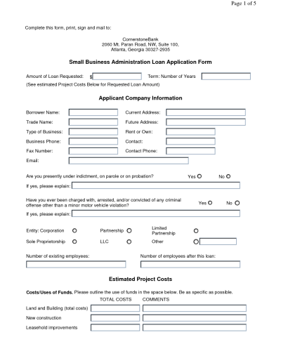 Business Loan Application Form - Free Printable Documents