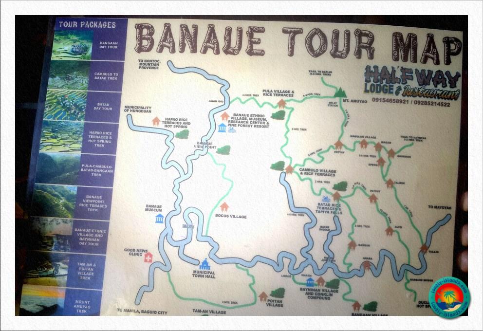 Karte von den schönsten Orten in Banaue