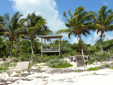 A shady gazebo awaits you on the beach.