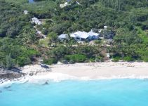 Aerial picture of Long Bay House and beach.