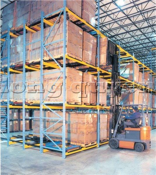 Giá Kệ Để Pallet Sàn Đẩy (Push Back Rack) (2)