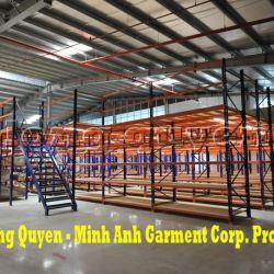 Giá Kệ Để Vải Kho Sàn Tầng Lửng Phụ Liệu May Công ty Minh Anh