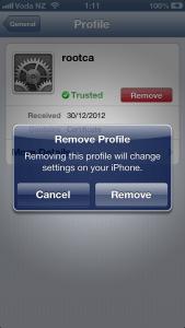 Remove Cert Settings Screen p3
