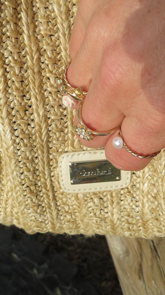 Dianna Ferrari raffia handbag & fine rings