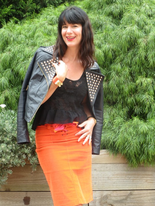 Orange skirt, black leather 3