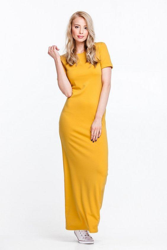 желтое платье футляр фото