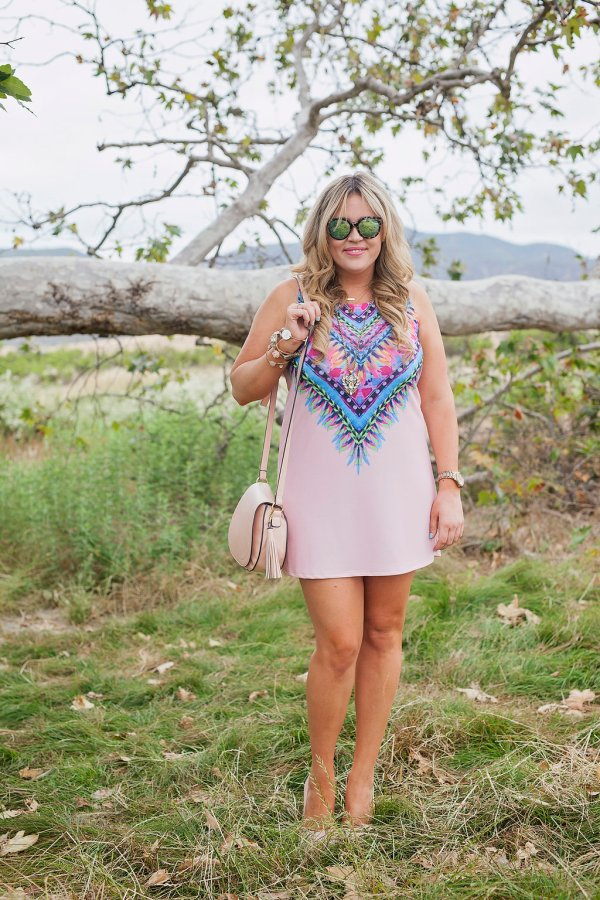 blush, blush dress, print dress, pink dress, women's dress, summer dress, dress for summer, ootd, blush ootd, women's boutique, women's online boutique, trendy women's online boutique, saddle bag, blush saddle bag, blush heels, pink heels, mirrored sunglasses