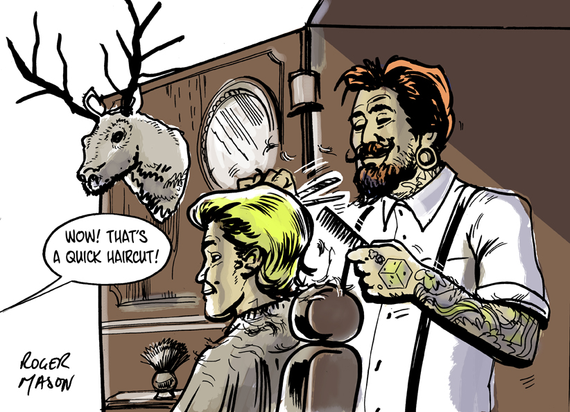 Hipster barber storyboard by Roger Mason