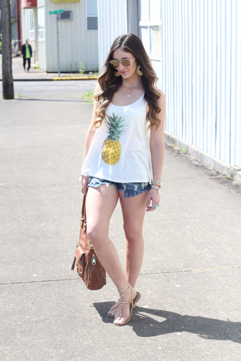 Jersey Pineapple Print Tank Top-White by Fashion Junkee