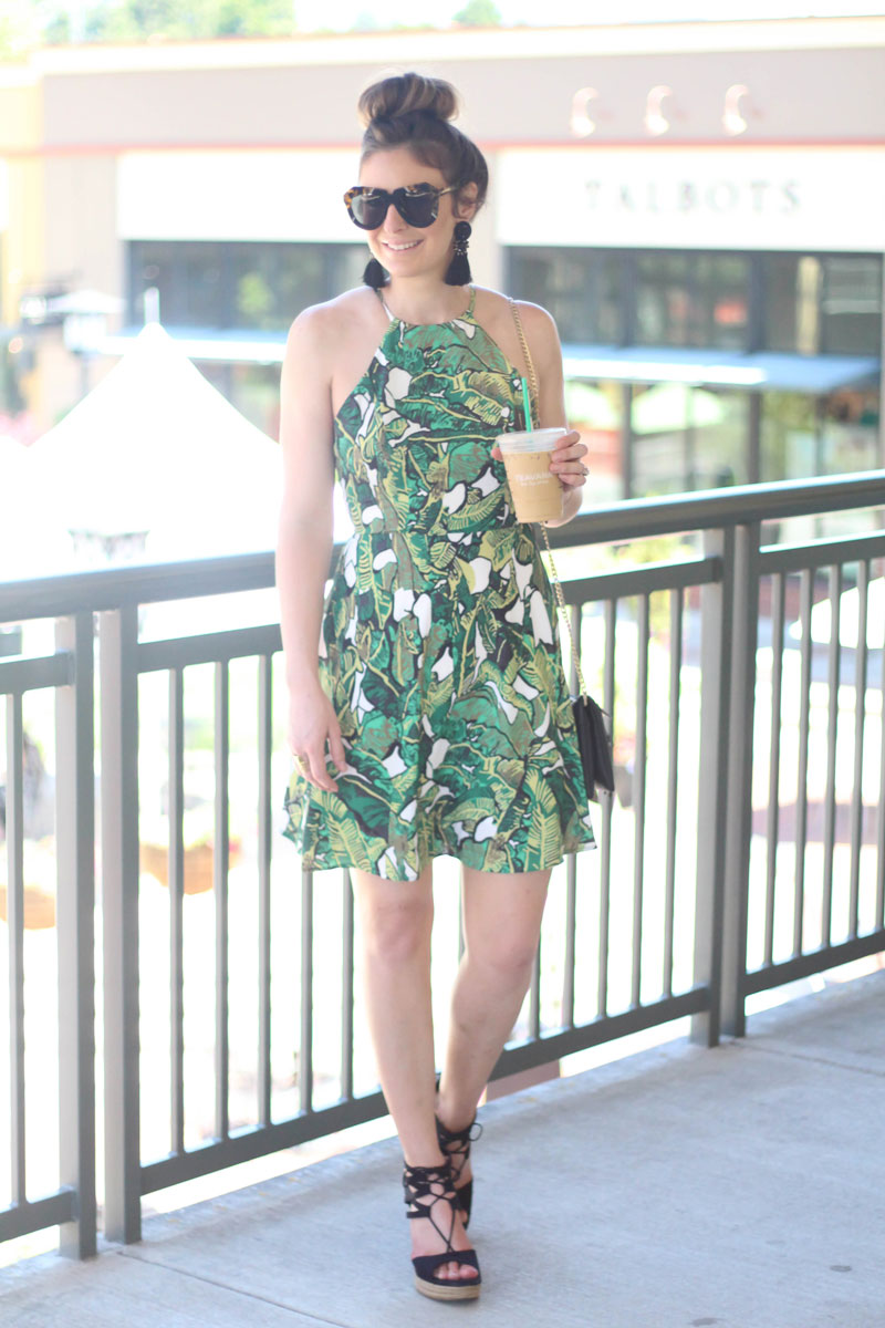 Shein Palm Leaf Print Dress