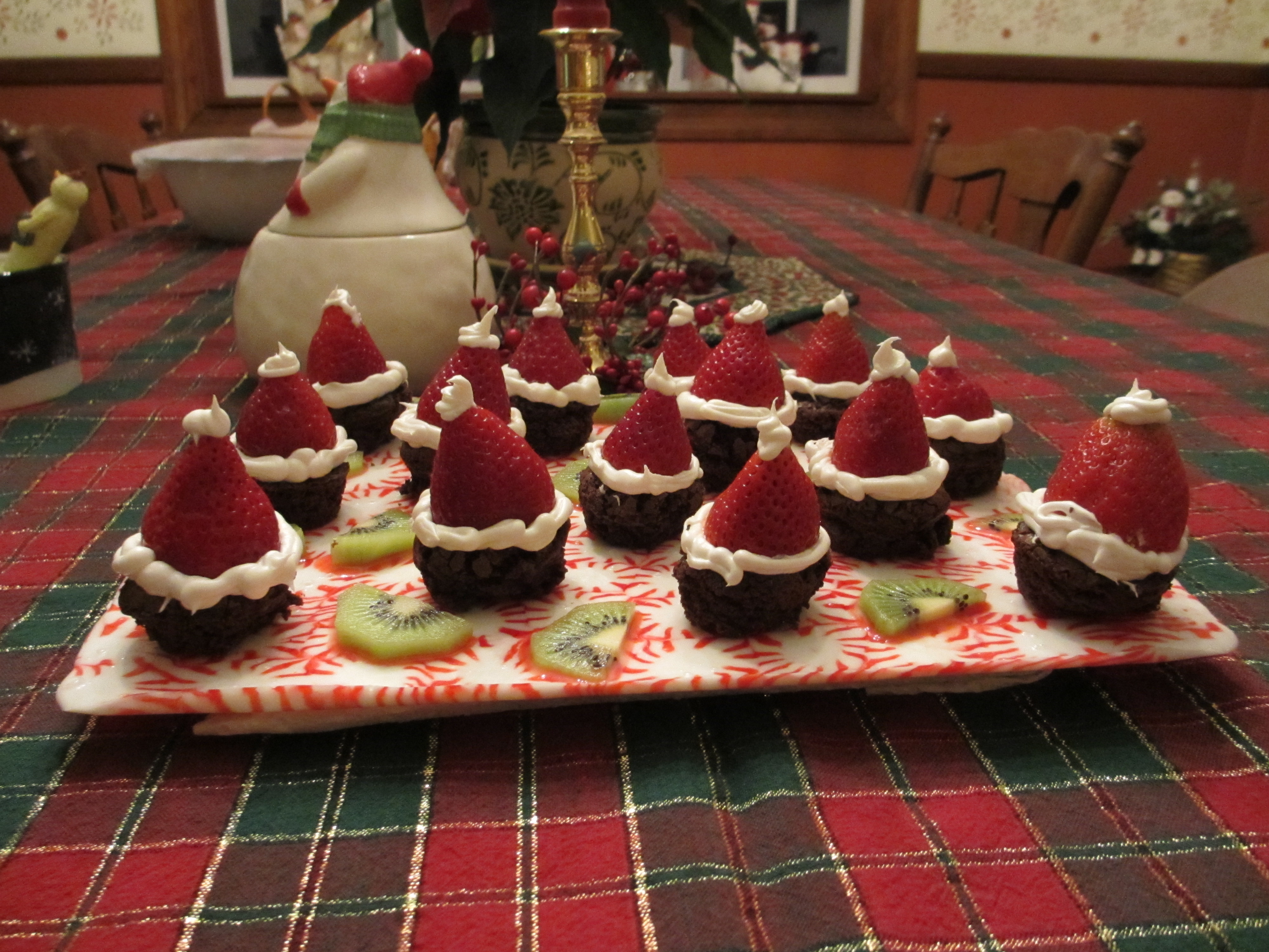 Flossy Office Party Ideas Perth Santa Hat Brownie Bites On Peppermint Serving Tray Party Ideas Look What I Party Ideas ideas Christmas Party Ideas
