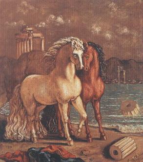 De Chirico,Cavalli in riva al mare Egeo