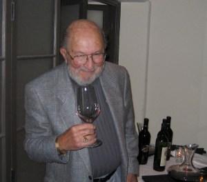 Al Lapides on his 80th, glass of Diamond Creek Cabernet Sauvignon in hand