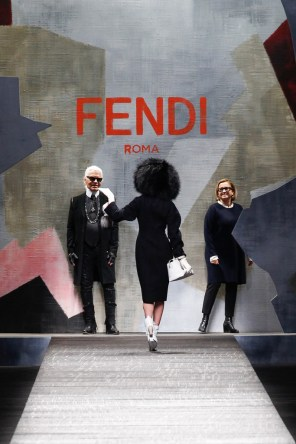 Karl Lagerfeld and Silvia Venturini Fendi