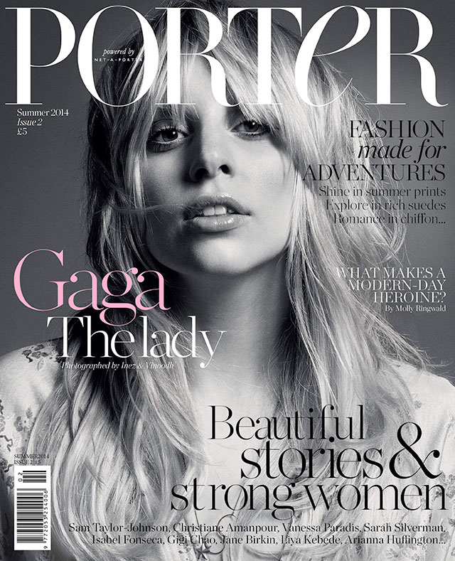 Lady Gaga au naturel for Porter Magazine's Cover