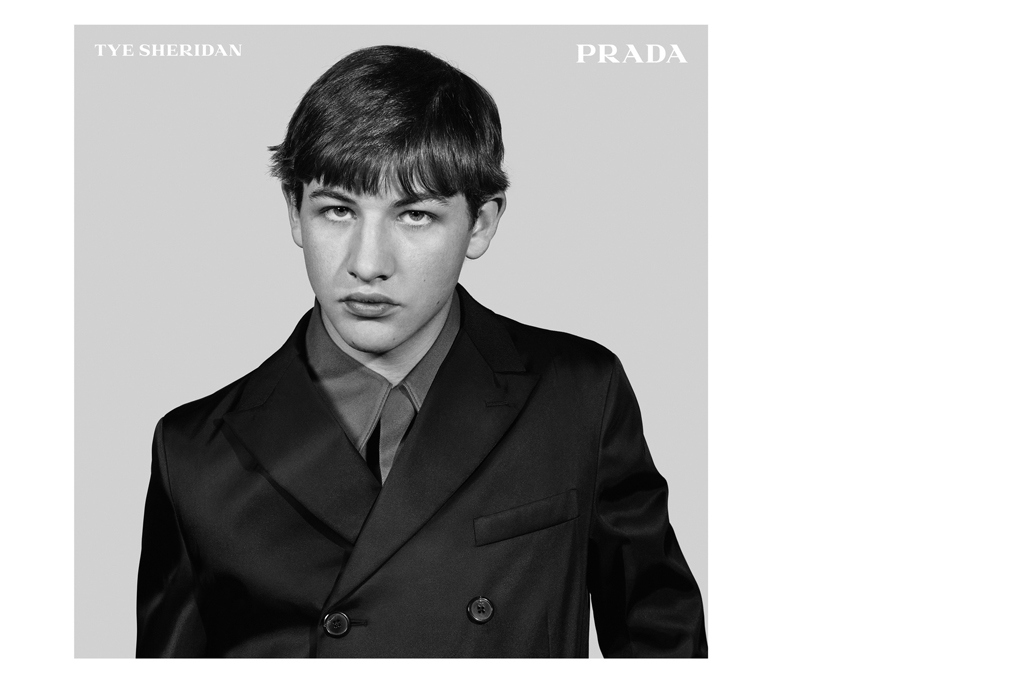 Tye Sheridan in a Prada Menswear ad shot by Craig McDean.
