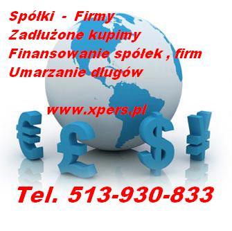 Kupię zadłużoną spółkę z o.o. S.A. Tel. 513-930-833