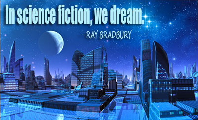 Blue Moon over futuristic City