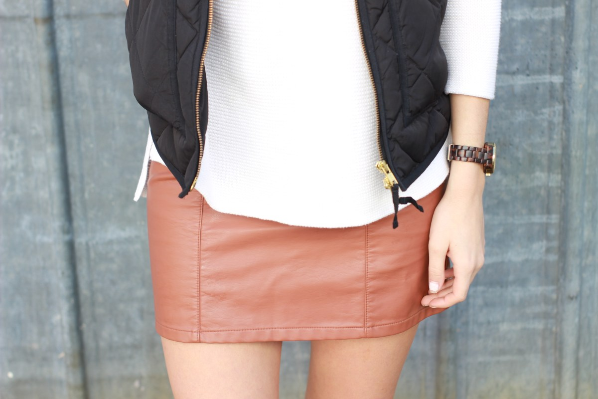 Styling a faux leather skirt for daytime
