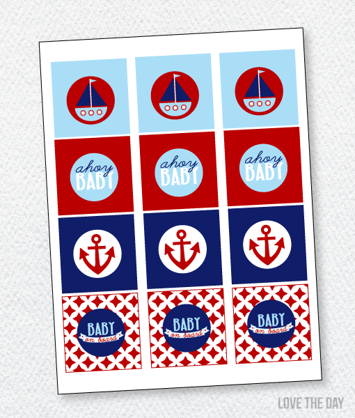 Preppy Nautical Baby Shower:: Party Tags
