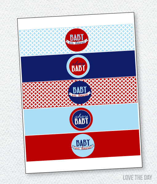 Preppy Nautical Baby Shower Printables:: Drink Labels