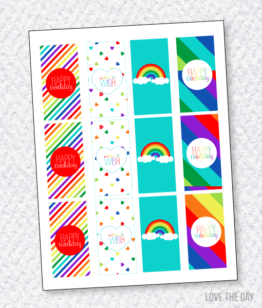 Rainbow Party Printables:: Mini Candy Bar Wrappers