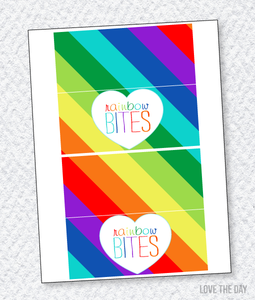 Rainbow Party Printables:: Fold Over Tags
