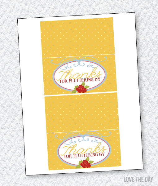 Butterfly Party PRINTABLES:: Fold Over Labels