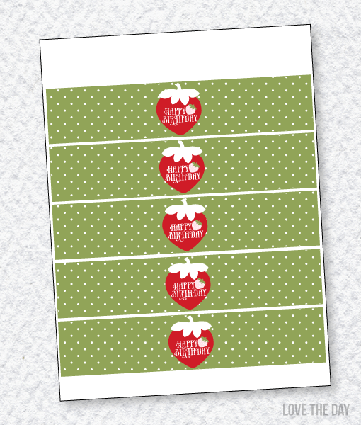 Strawberry Party PRINTABLES:: Drink Labels