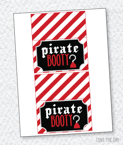 Pirate Party PRINTABLES:: Fold Over Labels