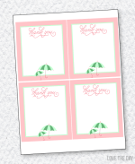 Shower With Love Baby Shower PRINTABLES:: Thank You Cards