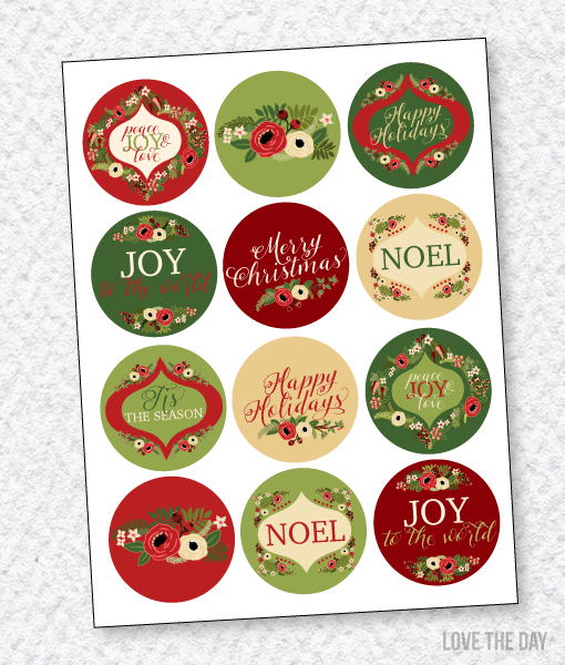 Floral Christmas PRINTABLES:: Party Circles