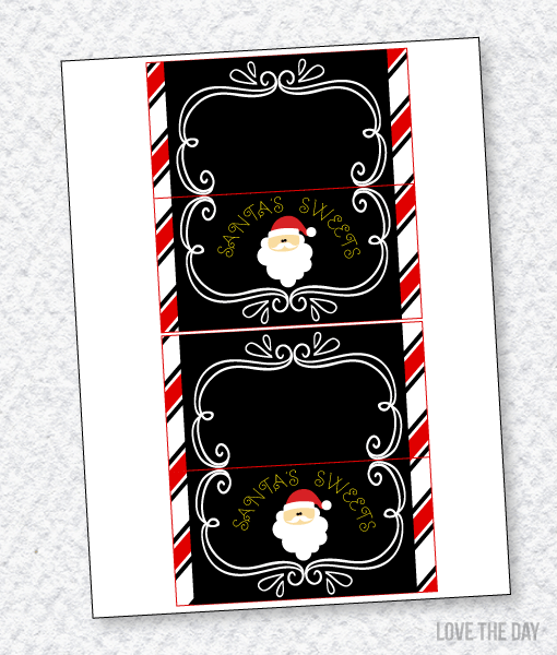 Santa's Sweets Party PRINTABLES:: Fold Over Labels