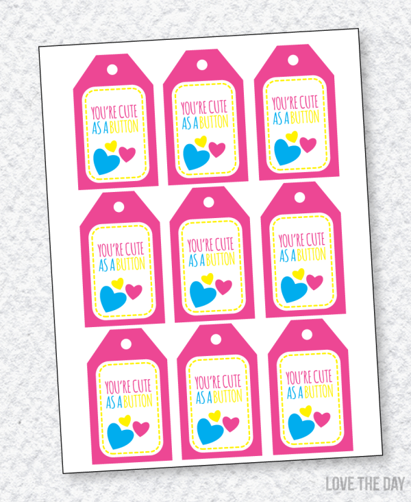 Cute As A Button Valentine PRINTABLE by Love The Day