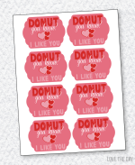 Donut Valentine PRINTABLE (INSTANT DOWNLOAD) by Love The Day