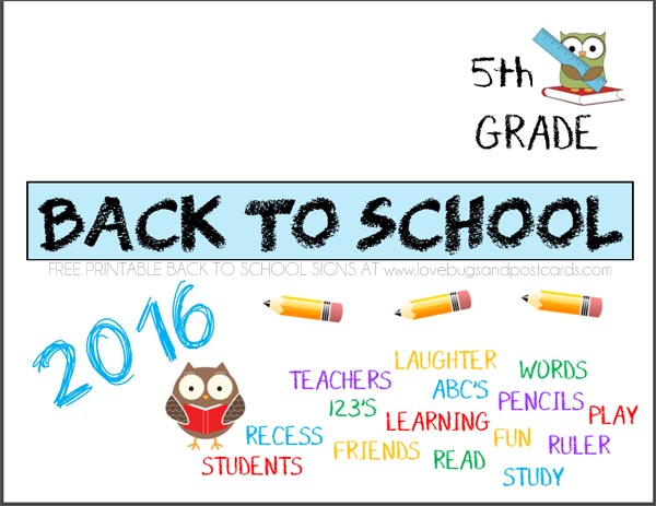 Printable Back to School signs Fifth Grade