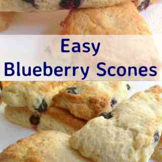 Easy Blueberry Scones recipe. Uses basic ingredients and are soft and fluffy inside. Have as a snack or part of a breakfast or brunch with some butter and jam too! Very freezer friendly so you can always have some handy!