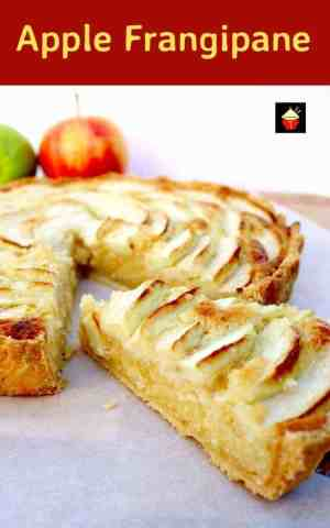 Apple Frangipane. This is a really nice coffee time cake to make. Goes great with a nice cuppa! Or you can have as a dessert, warm or cold with a squirt of whipped cream or like me, a blob of vanilla ice cream! It's really yummy! Delicious!   Lovefoodies.com