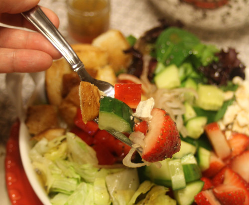 Delicious vegetables and strawberries