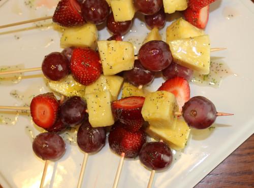 Honey Lime Fruit Kebabs.