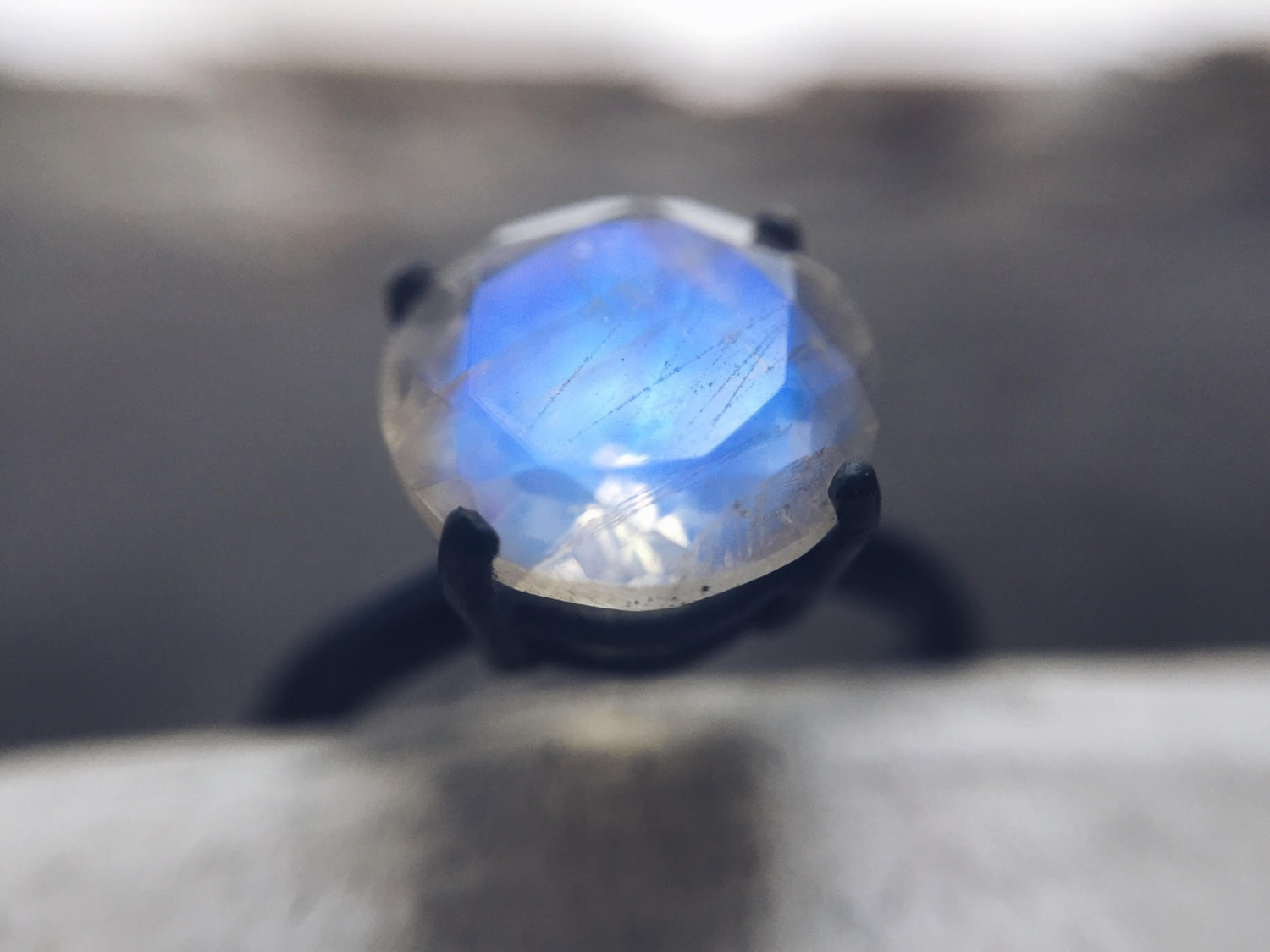engagement ring moonstone wedding rings 9mm Stunning Rainbow Moonstone Ring Engagement Ring Recycled Silver Ring Oxidized Silver Ring
