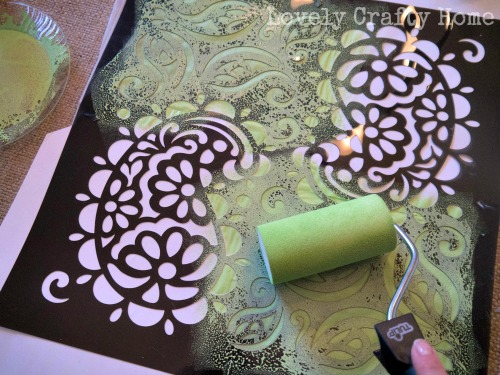 stenciling a pillow case