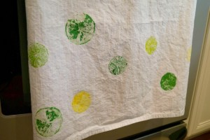 tea towel with citrus stamps