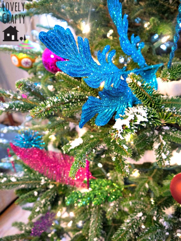 feather sparkle picks on tree