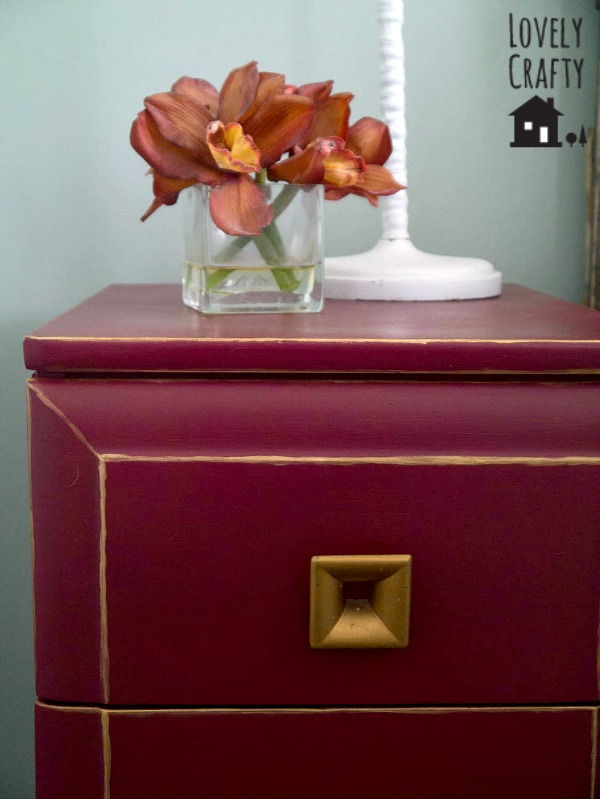 DIY Gold Trimmed Nightstand