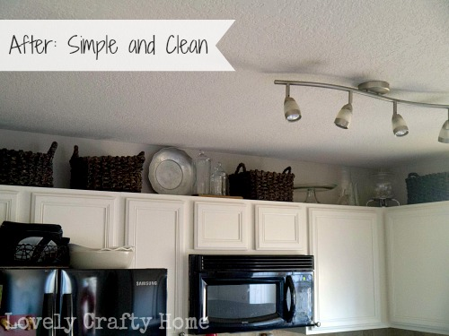 decorating the space above kitchen cabinets